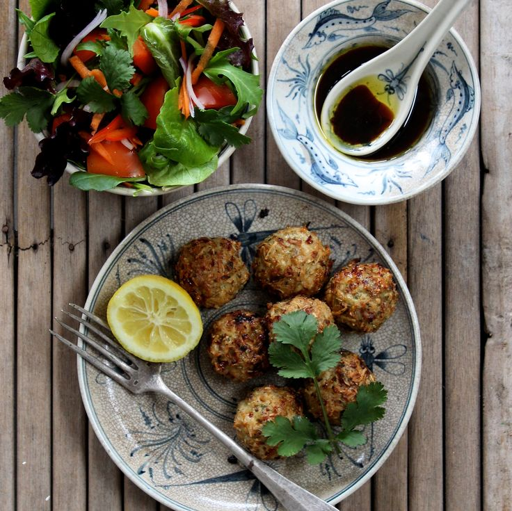 "COCONUT THAI CHICKEN BALL SALAD  BY F45 CO-FOUNDER LUKE ISTOMIN. ""These chicken meatballs are one of my all time favourite recipes and a regular in our house. They are full of protein, easy to make and packed with fibrous greens and herbs which are a healthy and tasty way to spice up your meals."" 20 Minutes. Sugar Free. Dairy Free. Gluten Free"