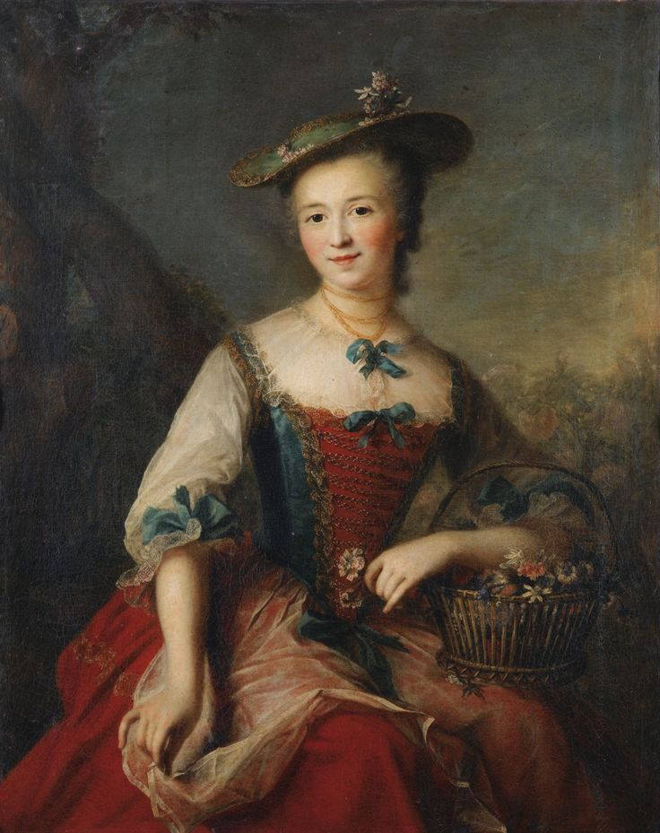 A portrait of a lady holding a flower basket by Marianne Loir (1715-1769). [source: Sotheby's]