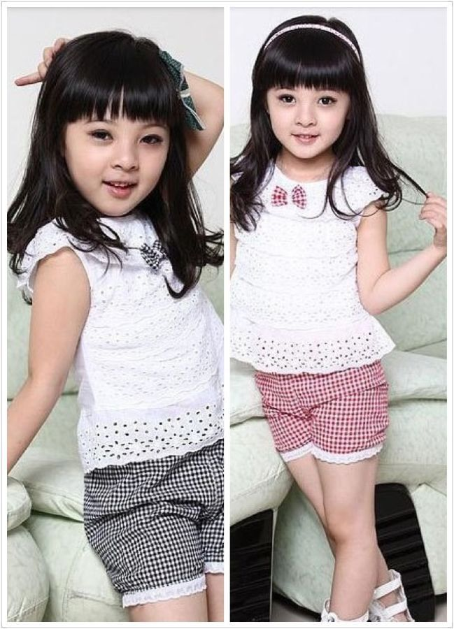 2014New Summer Lace Children Girl Clothes Set T Shirt And Lattice shorts Pants 2 Colors Infant Garment Free &Drop Shipping