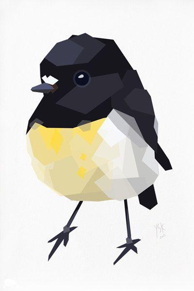 Geometric illustration Tomtit New Zealand bird by tinykiwiprints
