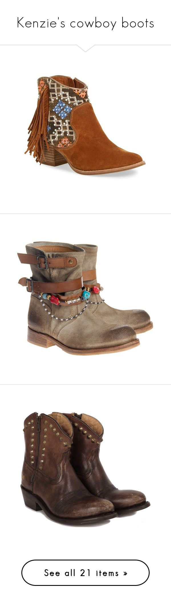 """Kenzie's cowboy boots"" by booboored ❤ liked on Polyvore featuring shoes, boots, ankle booties, tan suede, suede ankle boots, fringe boots, suede booties, tan ankle boots, short fringe boots and botas"