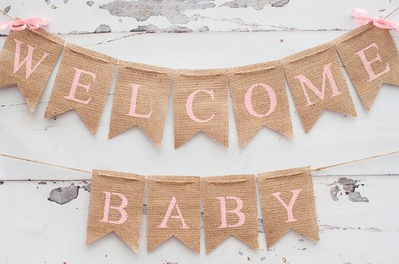 Welcome Baby Banner Baby Shower Banner Pink Baby Shower