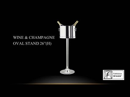 """Made from stainless steel  Wine/Champagne oval stand 2 Bottles 26"""" (H)  Product Code 2.5.003.00.352  SHIPPING IN CANADA ONLY!"""