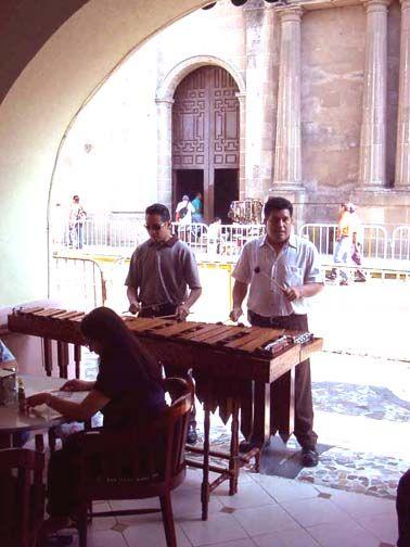 La Marimba:  Musicians playing at the Cafe de la Parroquia.   Veracruz, MEXICO.