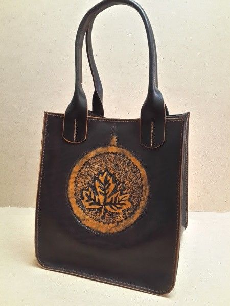 Стильная женская сумка №301 из натуральной кожи. Авторская ручная работа, чеканка по коже.