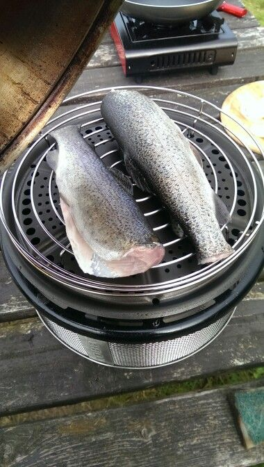 Survival of the fittest. Kitchen-in-a-Box. Best all-in-one outdoor cooking system. Smoking trout on the Cobb BBQ Grill. Stainless steel. Only 9 lbs. wwww.cobbgrillamerica.com