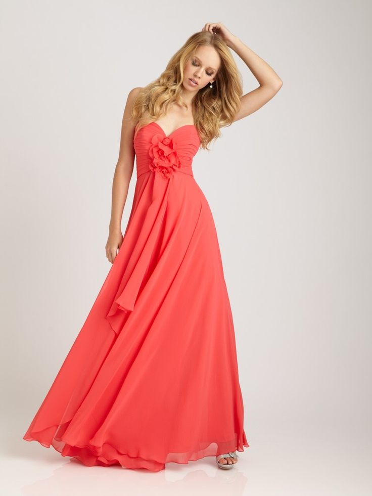 Causual Sweetheart Chiffon Floor Length Maid of Honor Dress in Watermelon  Color - Bridesmaid Dresses -