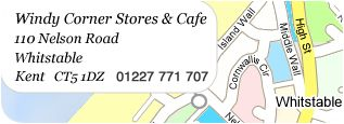 Map showing Windy Corner Stores' location in Whitstable