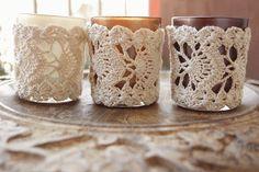 ... -en-kant-haken.html lacy crochet, tealight holder, crochet jar cosy - TRANSVERSAL
