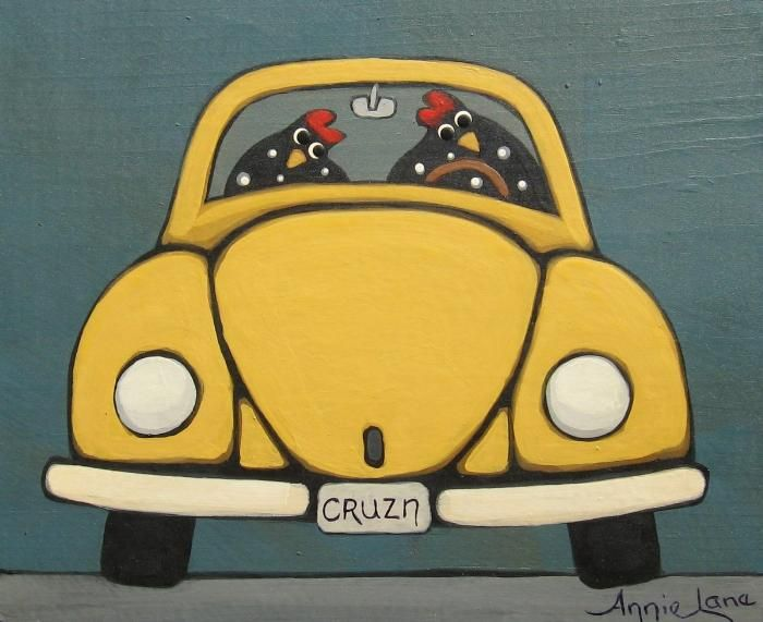""" Cruisin "" Whimsical Chickens in VW painting by Annie Lane  www.yessy.com/annielane"
