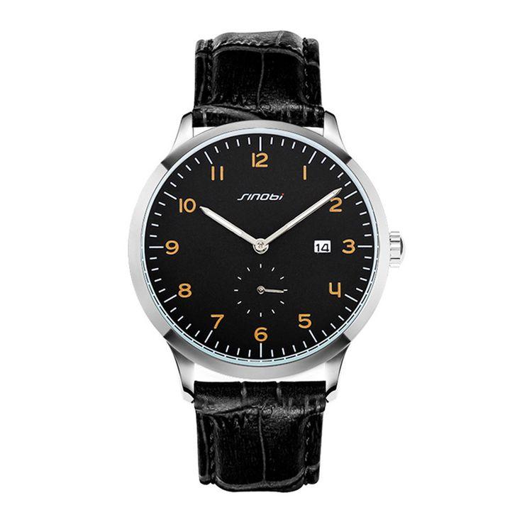 SINOBI casual watches black leather watch gents classic wristwatches gift watch erkek saatler orologi da uomo