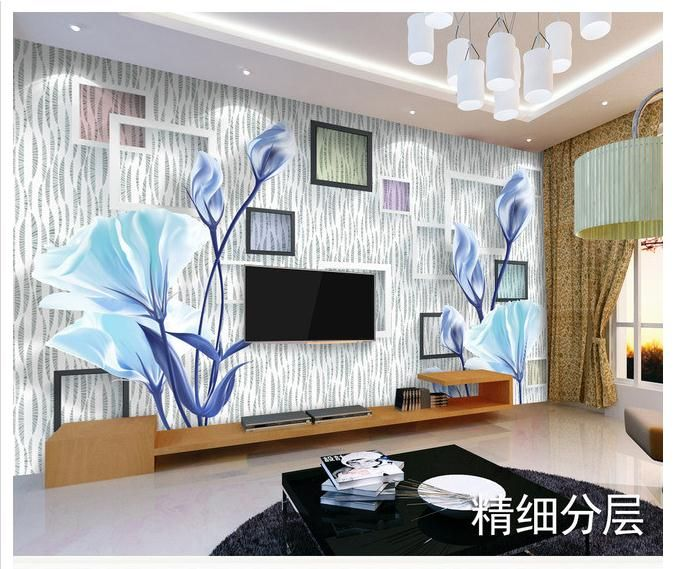 Unique Customized d wallpaper d wall mural wallpaper Fashion orchid D TV background wall mural wallpaper living