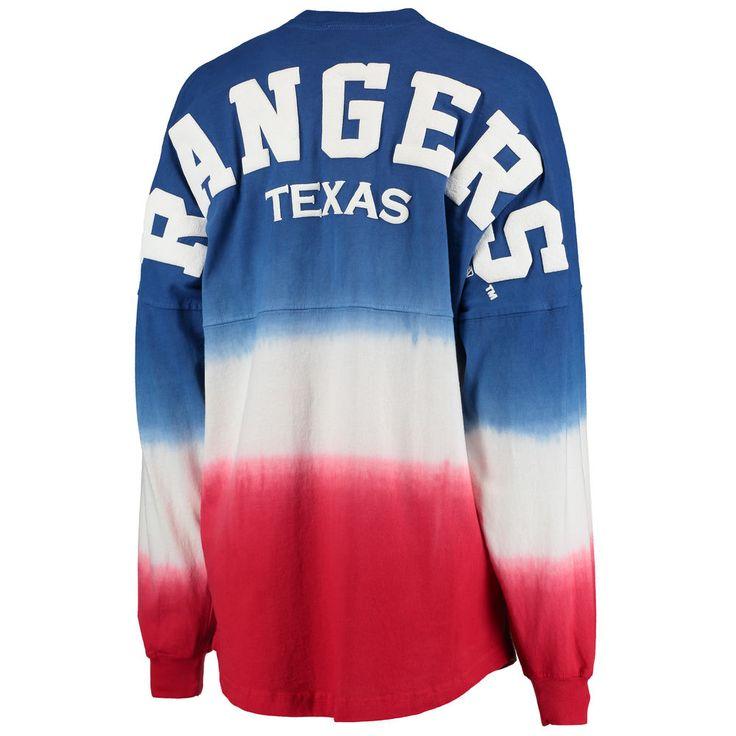 Texas Rangers Women's Oversized Long Sleeve Ombre Spirit Jersey T-Shirt - Royal