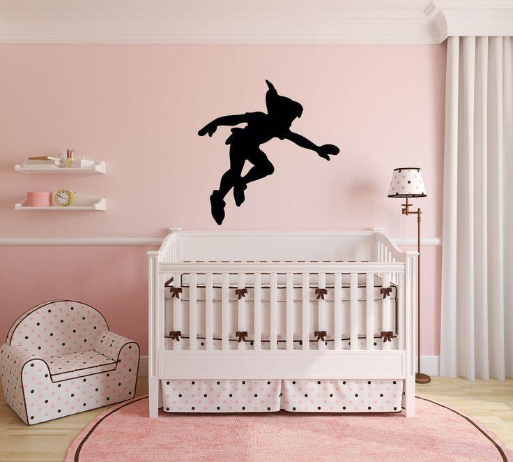 Peter Pan Wall Decal Vinyl Sticker, Disney Shadow Character Art Silhouette for Kids Playroom, Bedroom, Nursery - CustomVinylDecor.com