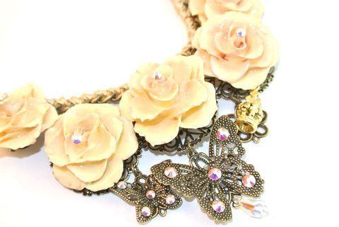 Luxury European Rosy Rose Necklace Sarah Blue real flower jewellery collections