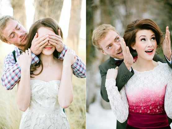 closed eyes in normal clothes, then open when we are in our wedding clothes! so cute!  this is a cute idea!