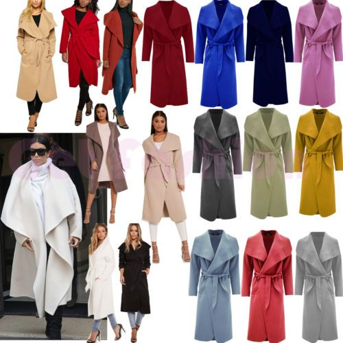 Women Italian Long Duster Coat Ladies French Belted Trench Jacket Waterfall 8-16