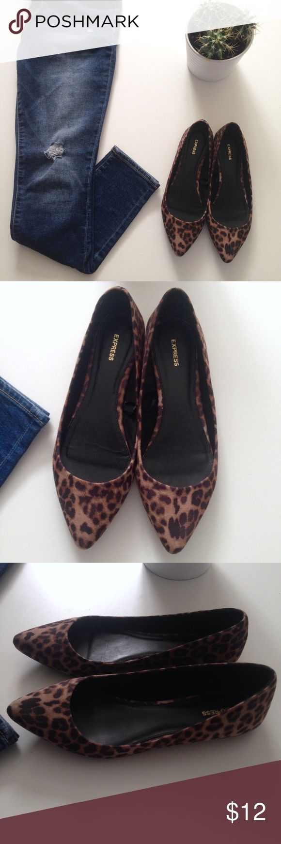 Leopard ballet flats Worn just once. In excellent condition. They appear slightly greyer than in the photos. Super cute. Selling because they're a little big for me. Shoes Flats & Loafers