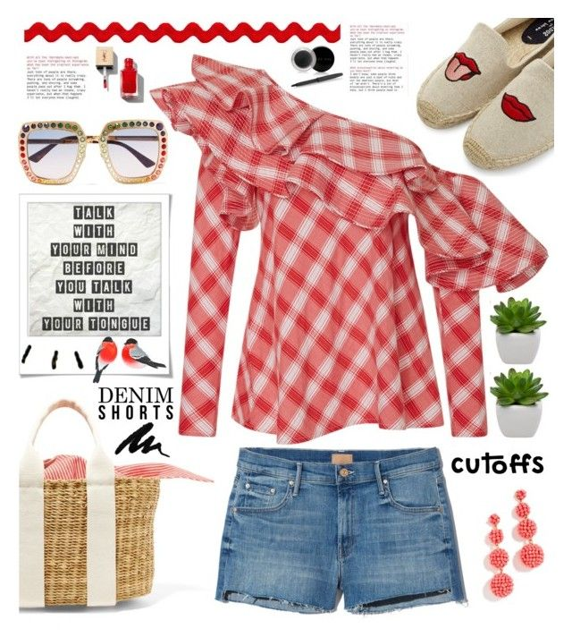 """""""Summer Staple: Denim Cutoffs"""" by hamaly ❤ liked on Polyvore featuring Soludos, Muuñ, Johanna Ortiz, Polaroid, Gucci, Mary Kay, outfit, ootd, trends and DENIMCUTOFFS"""