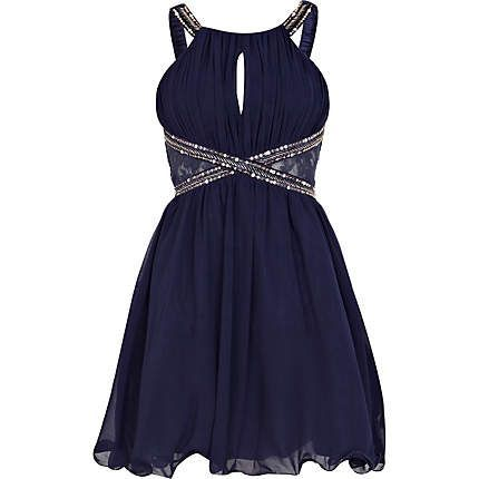 Navy Blue Little Homecoming Dress,Beaded Straps prom dress ,Sexy Open Back Party dress