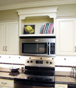 Bookcase above the over range microwave
