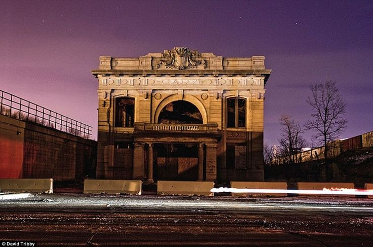 Union Station, Gary, Indiana, which was opened in 1910 and built to serve the Lake Shore and Michigan Southern Railway and Baltimore & Ohio Railroad. The station lies empty now, having been abandoned in the late 1950's as the city began to fall into disrepair