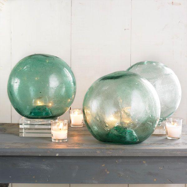 Glass fishing floatsBeach House, Candles Holders, Interiors Design, Glasses Fish, Fish Floating, Decor Accent, Glasses Floating, Fishing, Sea Glasses