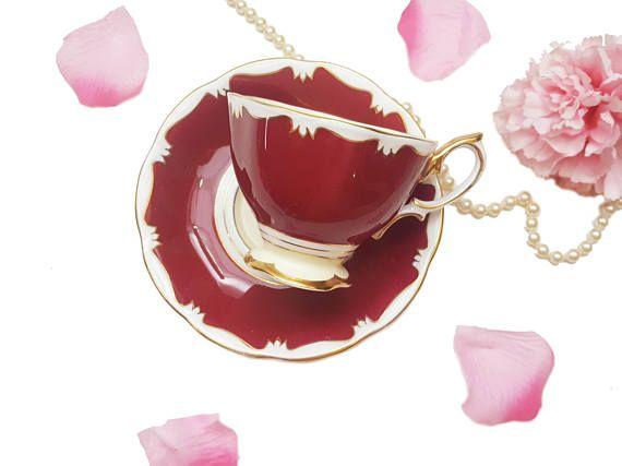 Royal Albert Burgundy Red Teacup Bone China Made in England
