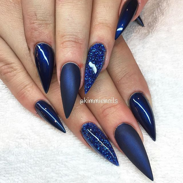 """Midnight blue & blue glitter"