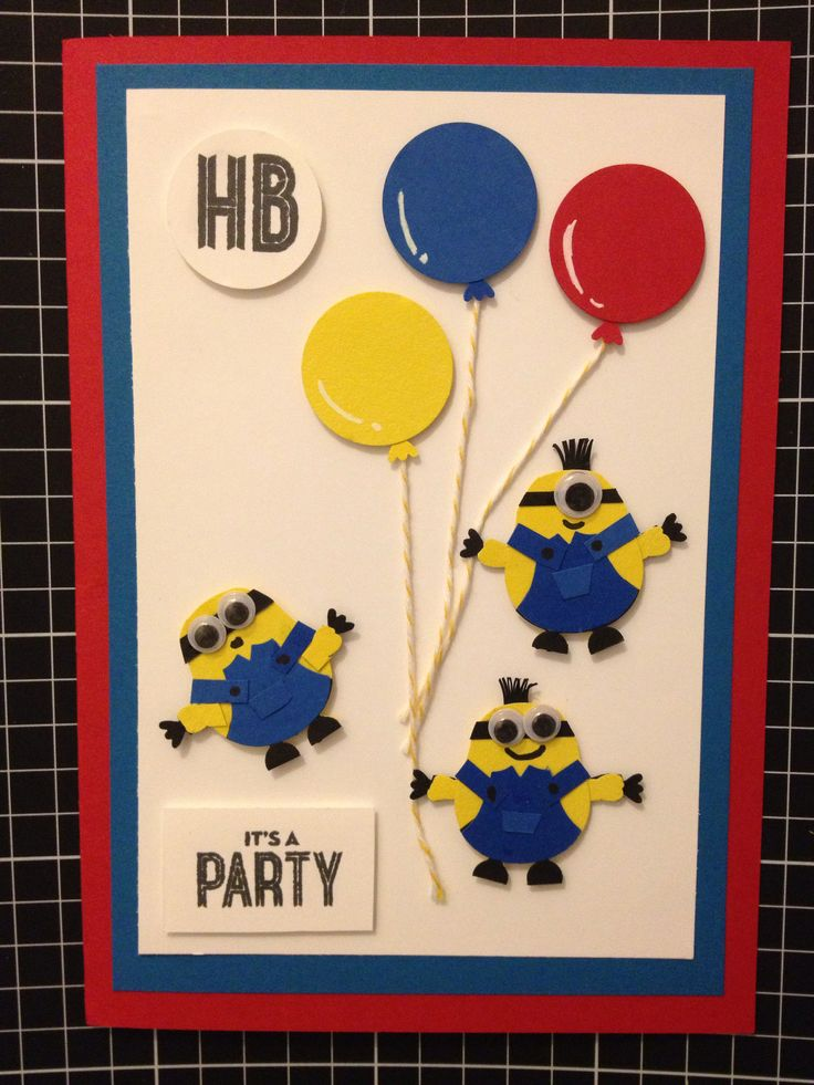 Minions birthday card using Stampin' Up! Owl punch & circle punch.