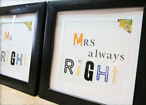 Framed Word Wall TileMr. Right Mrs Always by AllYouNeedIsBeads