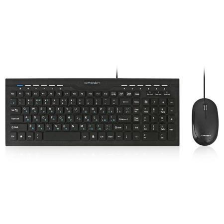 комплект Crown CMMK-855  — 560 руб. —  Crown CMMK-855 - это неприхотливый, надежный и легкий в использовании комплект. Классическая печатная раскладка клавиатуры содержит символы латиницы и имеет низкопрофильные клавиши. Проводная мышь черного цвета с 4-мя кнопками, колесом прокрутки и оптическим сенсором с разрешением 800 dpi. Установка осуществляется автоматически после подключения устройств к USB-портам ПК.