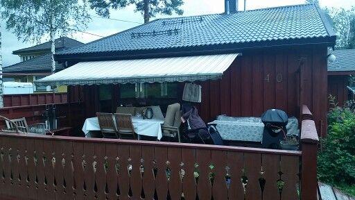 Terrasse m gammel markise.