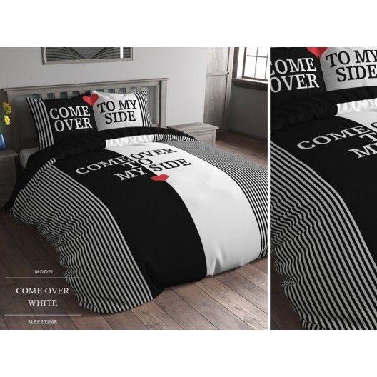 Pruhované čierno biele obliečky na postel