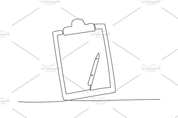 Checklist One Line Drawing Vector Line Drawing Drawings Checklist