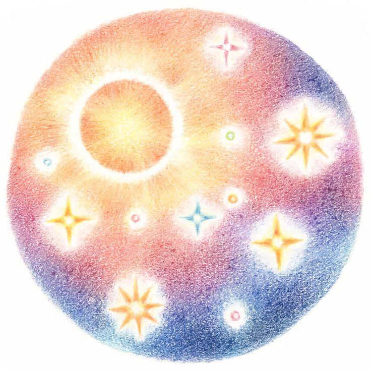 """The Sun and Stars"" −RiLi, picture book, illustration, design ___ ""星と太陽"" −リリ, 絵本, イラスト, デザイン ...... #illustration #star #sun #イラスト #星 #太陽"
