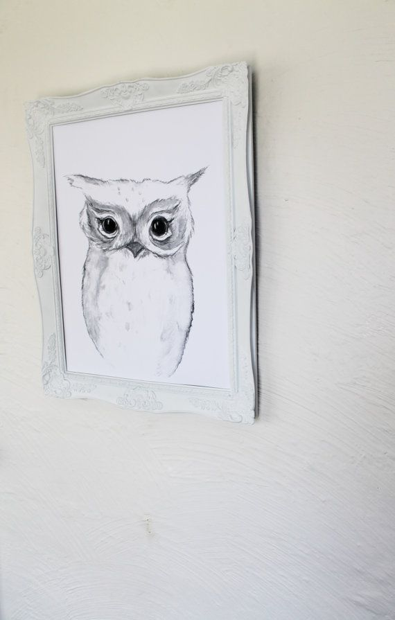 a3 Monochrome Watercolor Owl Print by jessicasarahdesign on Etsy