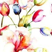 Aquarel schilderen van tulpen en bloemen van de Lelie, naadloze patroon photo