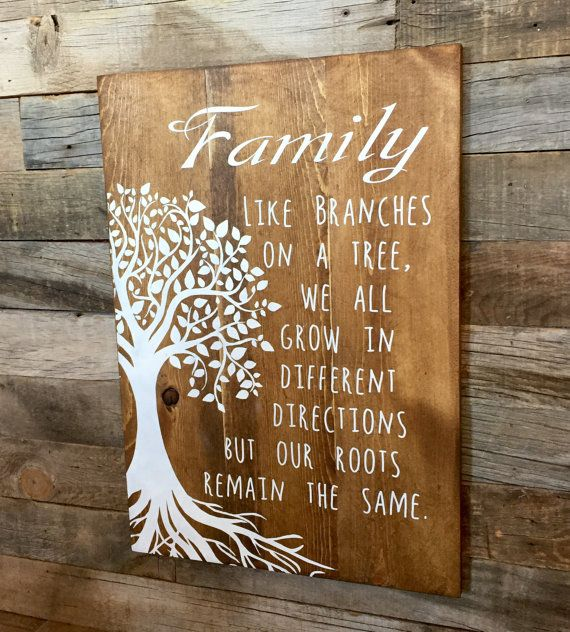 A great reminder that we are all part of a family and roots run deep! Made in shabby chic style with pine wood and hand painted/stenciled (No Vinyl) for that rustic long lasting look! Measures roughly (depending on rough cut board size) 16 Wide by 22 Tall! We do not cover or hide the natural dents and knots in the wood as it adds to the character of the piece. Sign comes with pre-drilled hanging slot in back for an easy/snug installation.  Can be made to order in different colors to match…