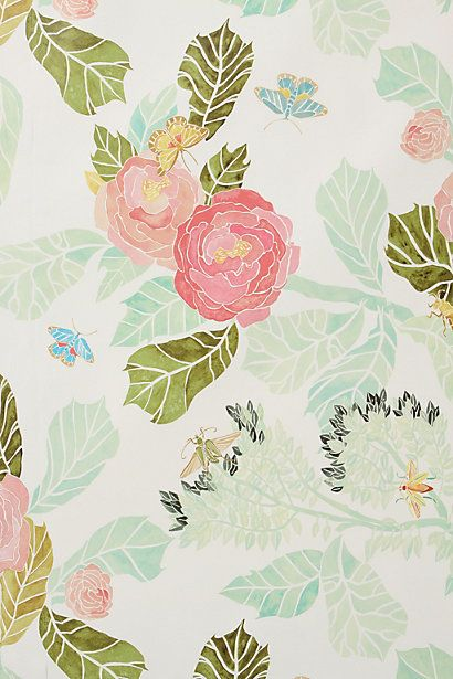 Peony wallpaper via Anthropologie | Wallpaper wood and use as wall hanging since we won't be able to wall paper the new place. Would look lovely behind Keira's bed or in a bathroom.