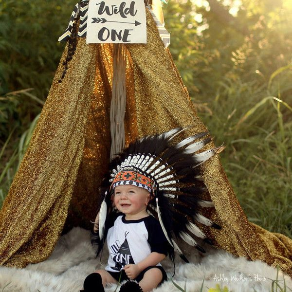 Hats – Black White Baby Toddler Indian Costume – a unique product by Boka-and-Juga on DaWanda