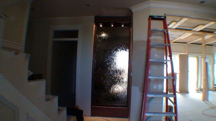 Custom Floor Standing Waterfall Indoor Water Wall Mirror Glass http://waterfallnow.com https://waterfalldecor.com