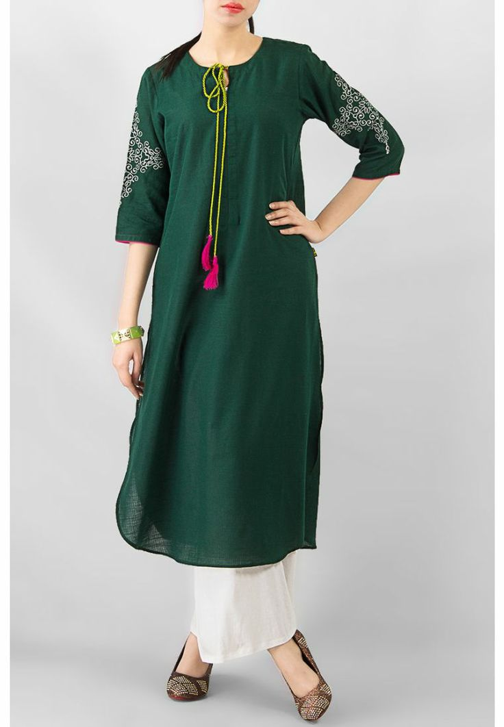 Green Linen Tassel Action Kurta – COD, Free Shipping & 7-Day Returns | Daraz.pk