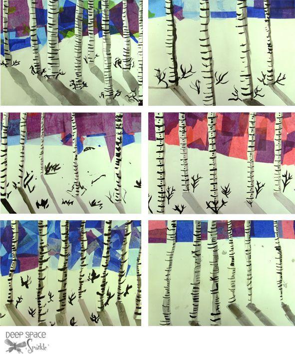 Deep Space Sparkle – Birch Tree Art Project | School Ish