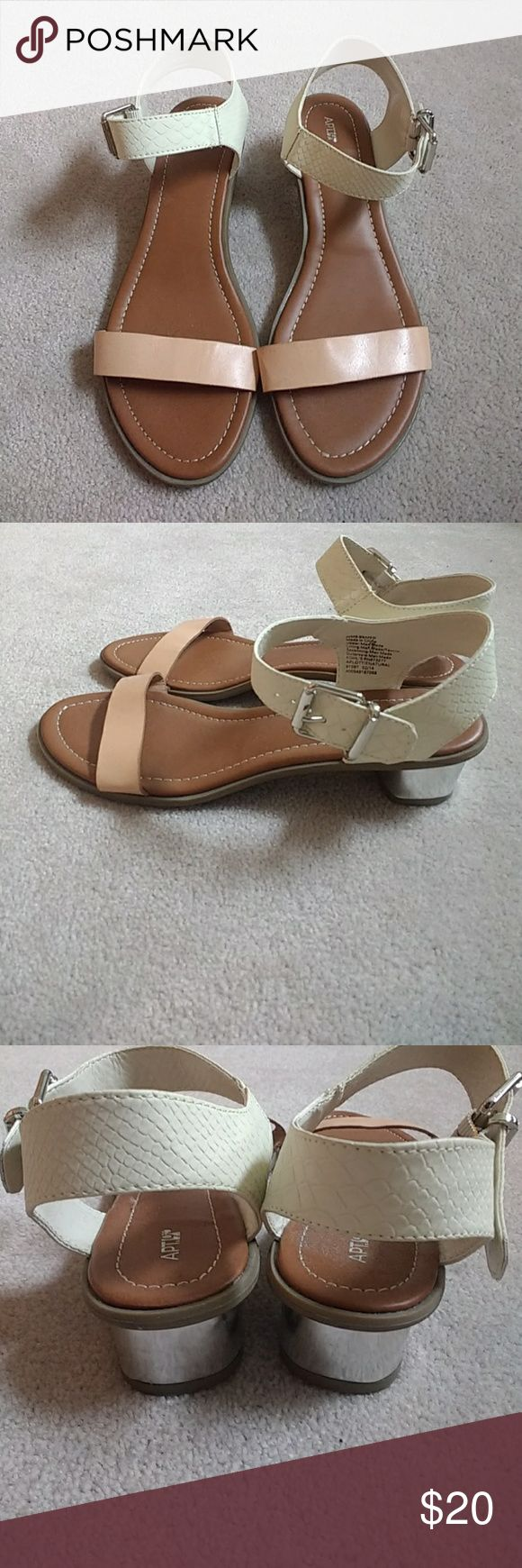 """NEW Apt. 9 Two Tone Strappy Heeled Sandals Never worn! Features a white textured top strap and a smooth faux leather tan colored strap at bottom. Heel is silver for a trendy touch and measures 1.5"""". Apt.9 Shoes Sandals"""
