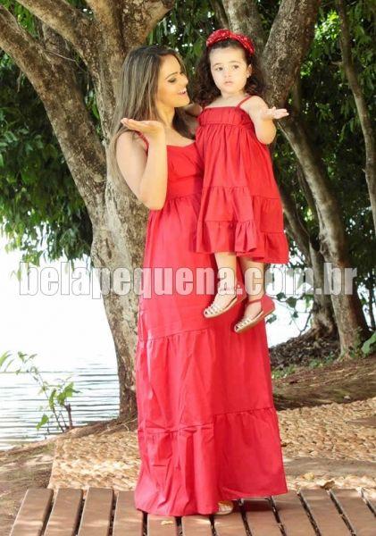 Vestidos femininos tal mãe tal filha vermelho longo