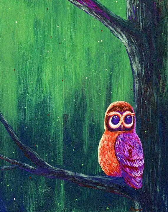 owl, night, purple, twilight, dusk, lightening bugs, tree, print, art, 8x10, forest, woods, bird, wildlife, nature, wild, childrens art