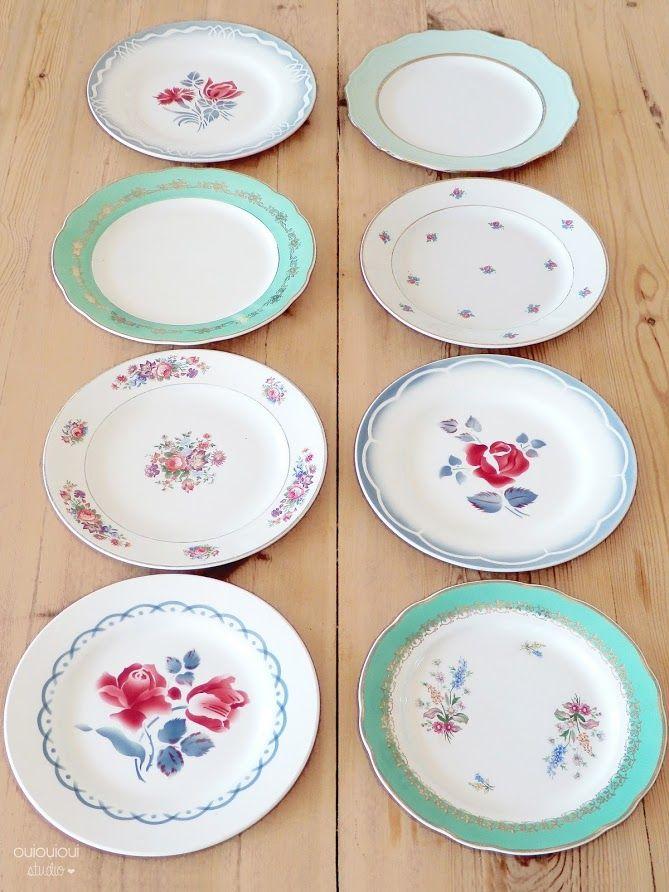 Jolies assiettes anciennes et dépareillées - Ouiouiouistudio.blogspot.