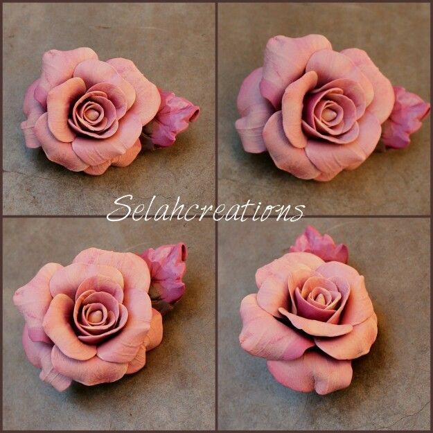 Polymer clay rose pin in pink