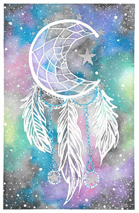 Original++Galaxy+Dreamcatcher++Watercolor+Painting+by+BrietronArt